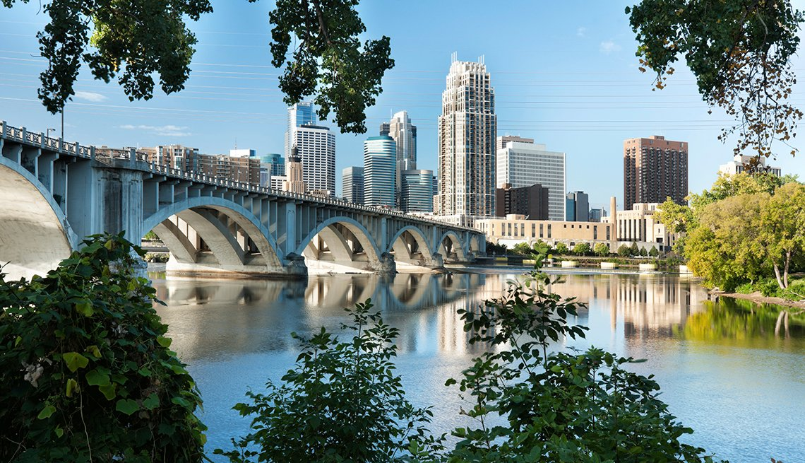 Mississippi River Bridge, Minneapolis Skyline, Budget U.S. Trips