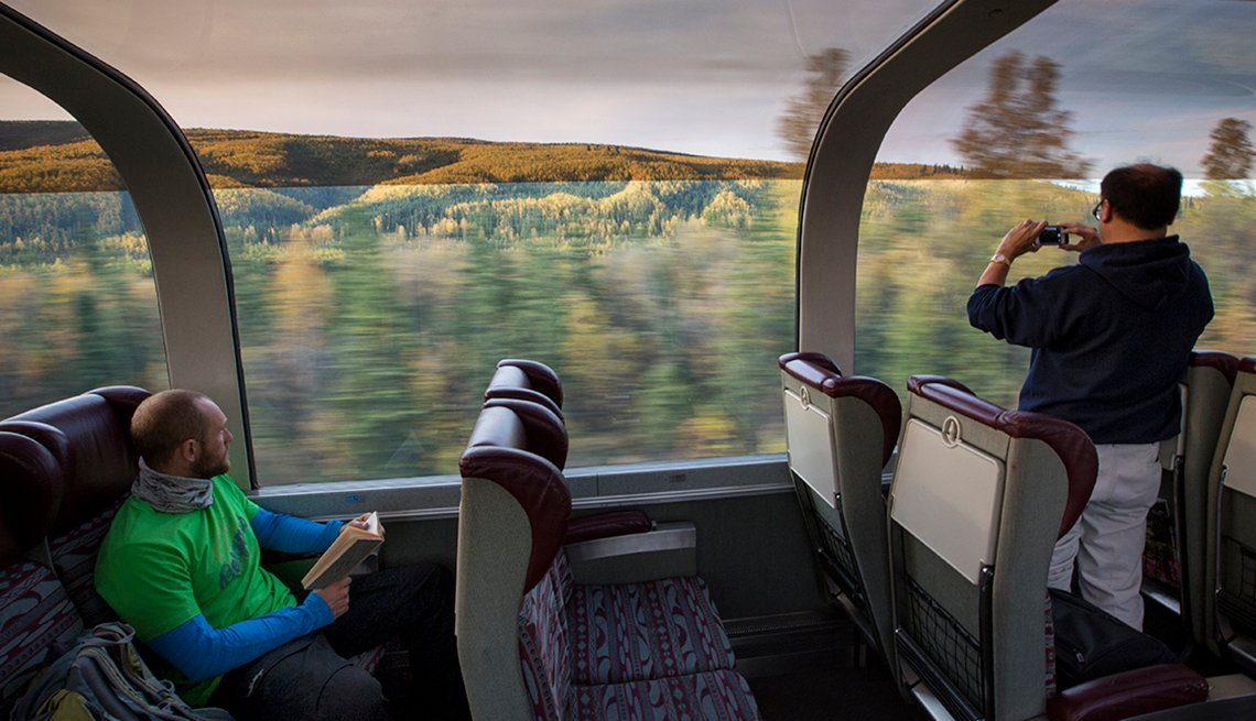 Passengers on Alaska Railroad between Fairbanks and Anchorage, Alaska, United States Bucket List Destinations