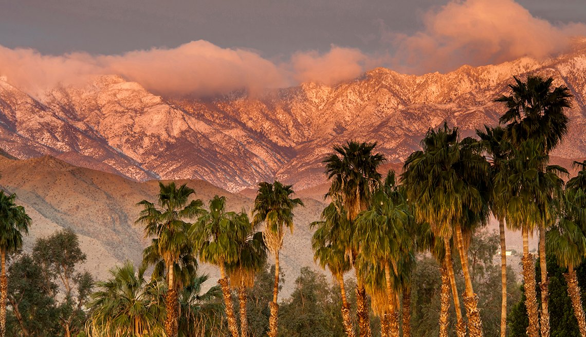 Sunset on Palm Trees and San Jacinto Mountains in Palm Beach, California, United States Bucket List Destinations