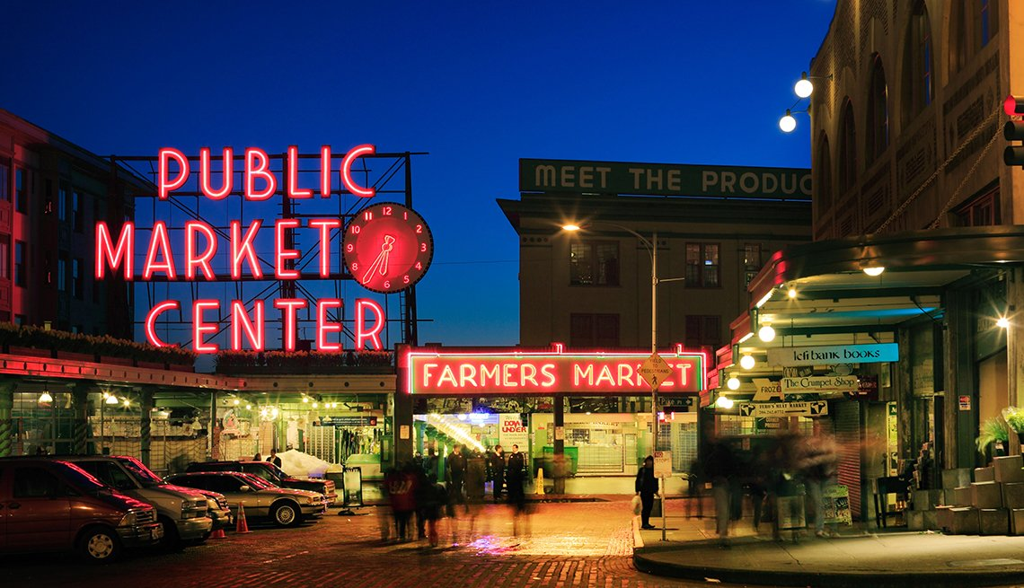 Seattle's Pike Place Market at Dusk, United States Bucket List Destinations