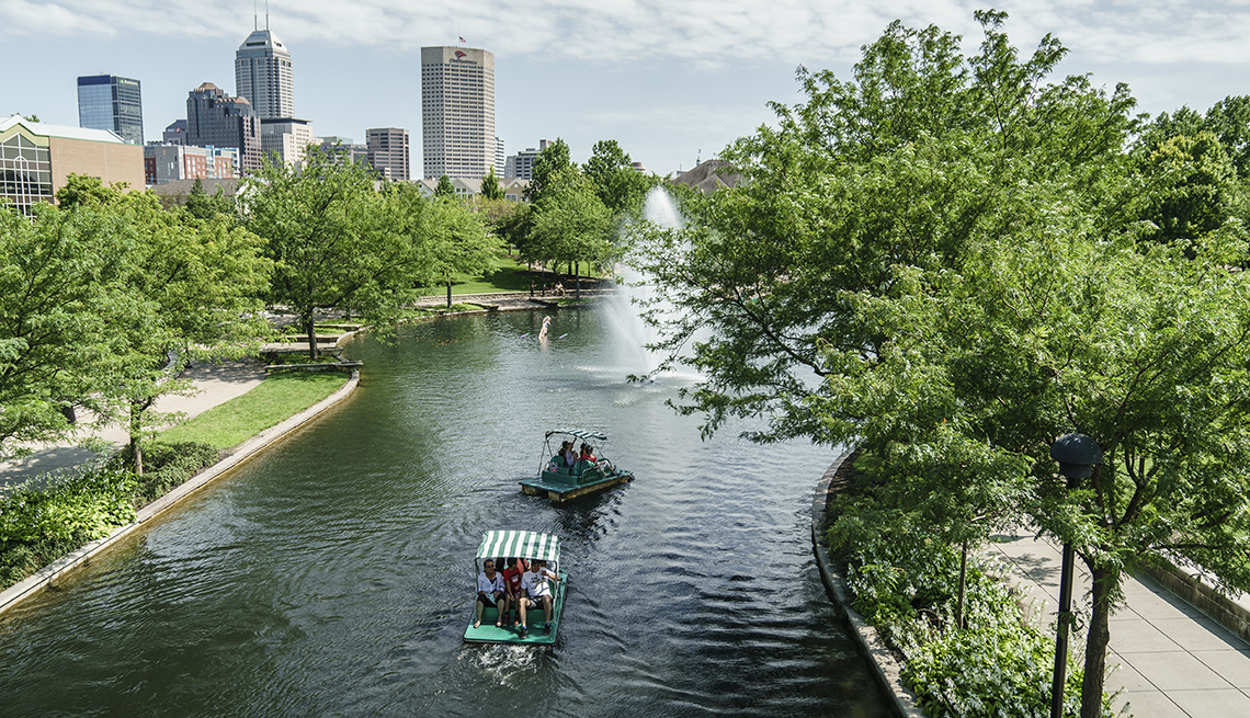 Boats on Canal, Trees and High Rises, Heartland Getaways
