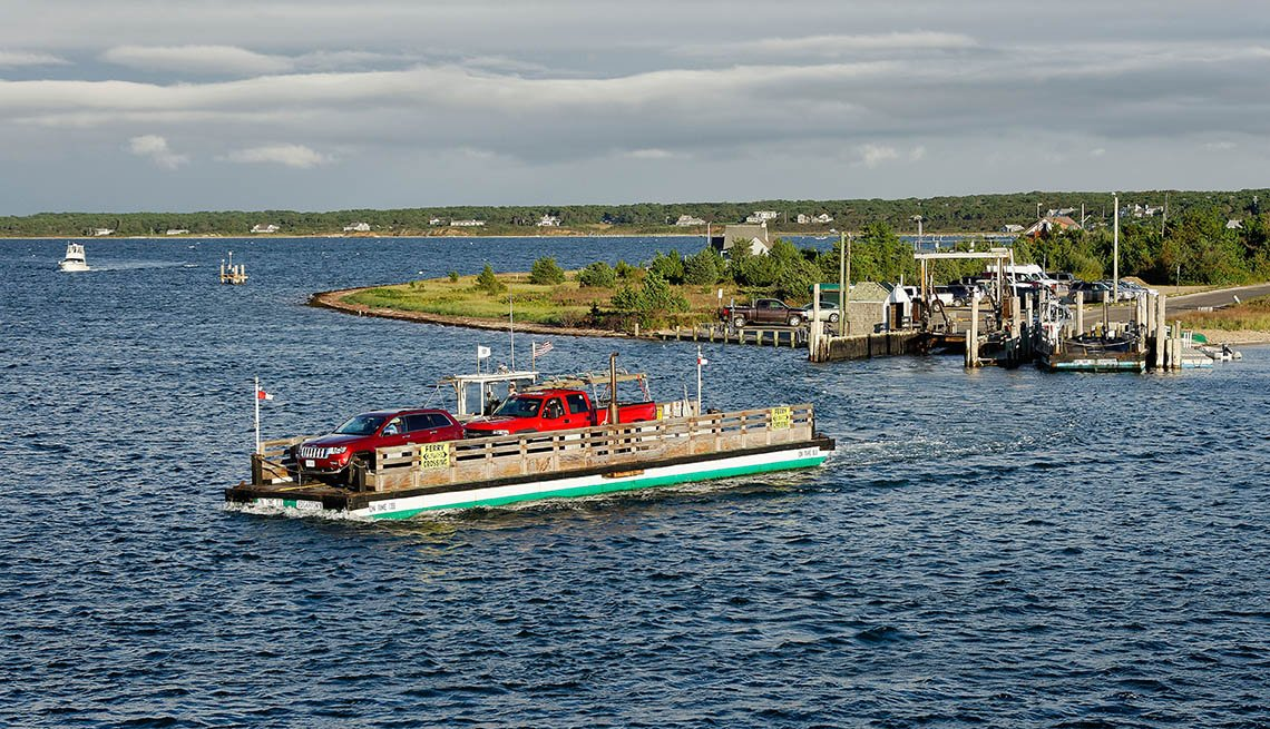 The Ferry Crosses The Chappaquiddick Near Martha's Vineyard In Massachusetts, Fun Ferry Rides