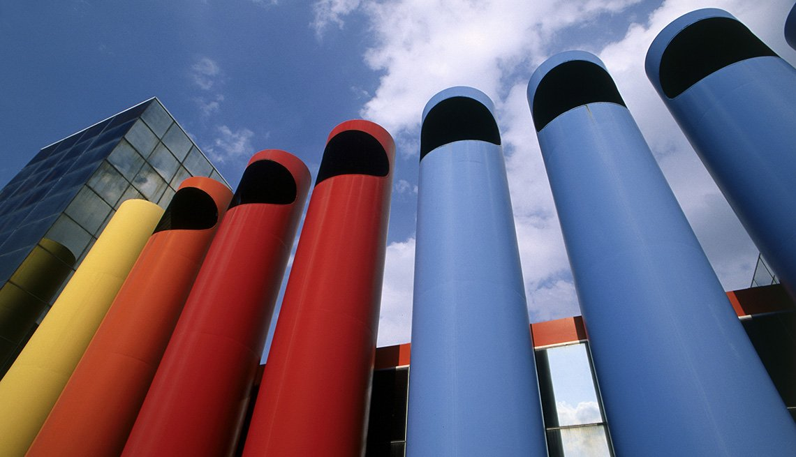The Colorful Exterior Of The Ameritech Building In Columbus Indiana, America's Best Low-Cost Cities