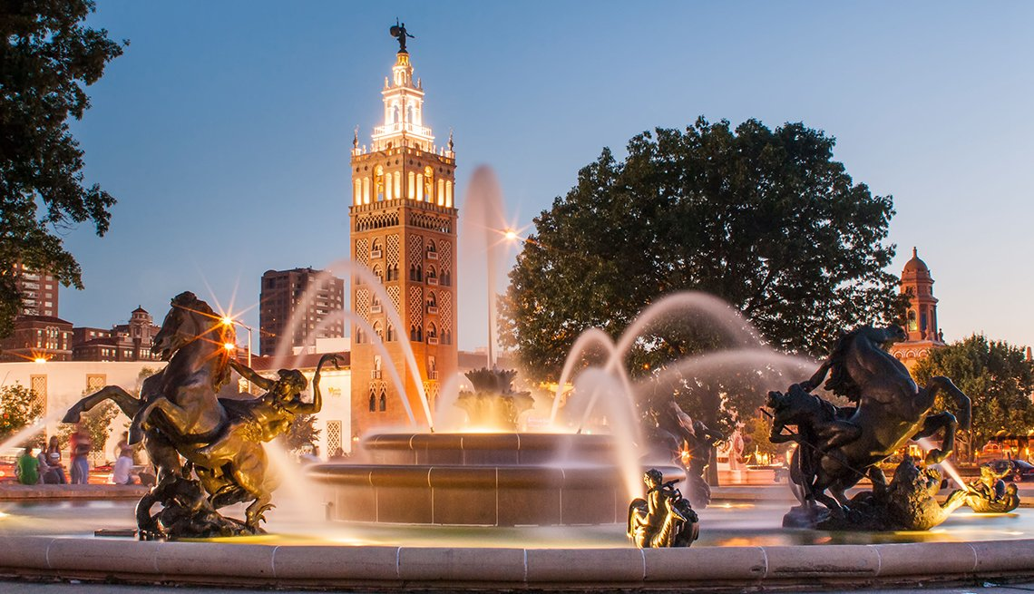 Fountain Tower Twilight, Kansas City, Budget U.S. Trips