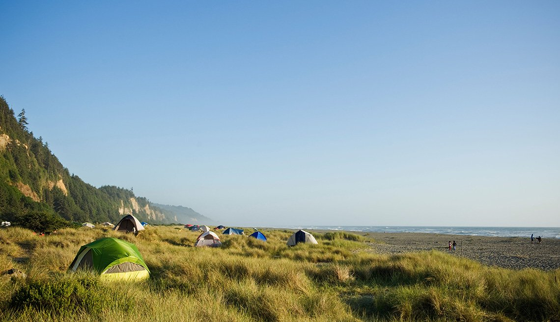 Tents All Over The Dunes And Beach At Gold Bluffs Beach In California, Secluded Beaches