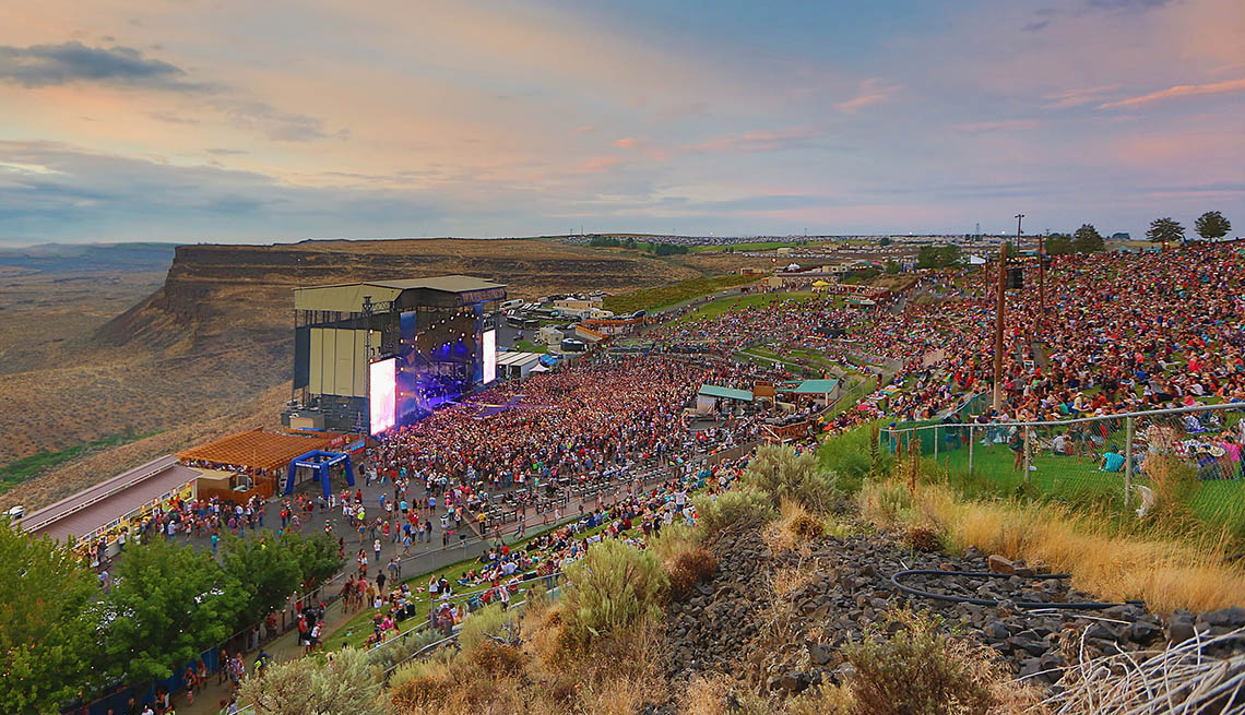 Concert Goers Watch A Concert At The Gorge Amphitheater In George Washington, Outdoor Music Venues