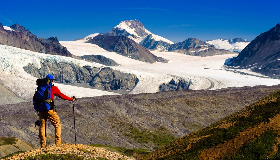 Backpacker, Glacier, Snow, Alaska, Top U.S. Vacation Destinations