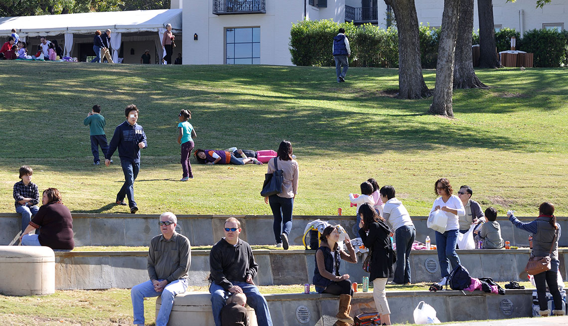People Sit On The Lawn At The Martin Rutchik Theater In Dallas Texas, Outdoor Music Venues
