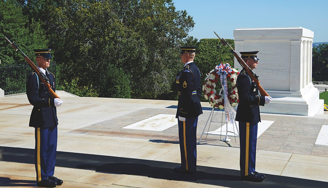 Changing of the Guard Ceremony at Tomb of Unknown Soldier at Arlington National Cemetery in Virginia, Memorial Day Historic Sites