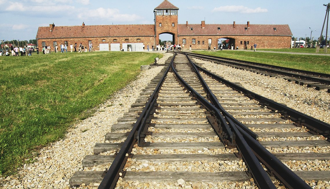 Train Tracks into Auschwitz-Birkenau Concentration Camp in Poland, Memorial Day Historic Sites