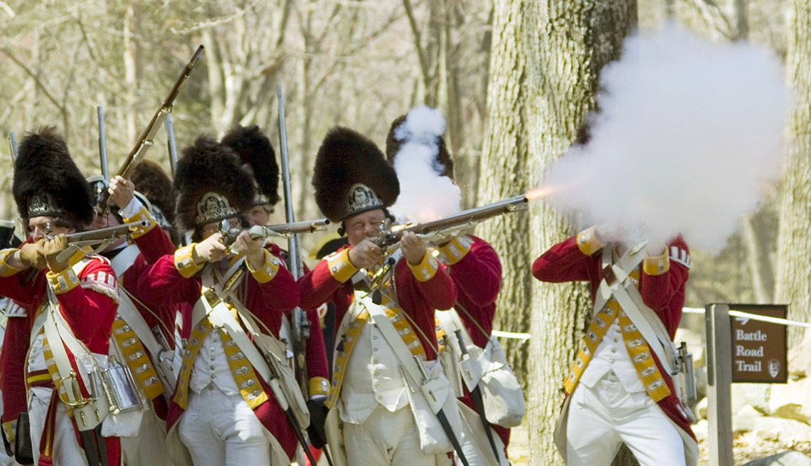 Reenactors Fire Rifles During Battle Reenactment at Minute Man National Historical Park in Concord, Massachusetts, Memorial Day Historic Sites