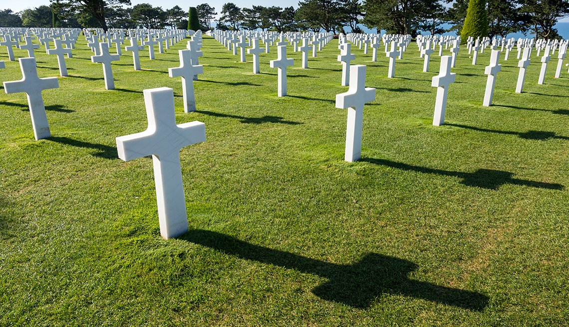 Whites Crosses in American Cemetery at Omaha Beach in Normandy, France, Memorial Day Historic Sites