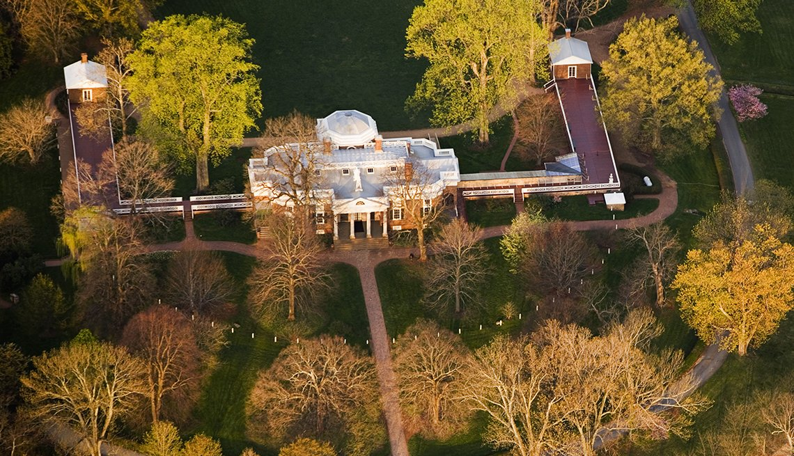 Aerial View, Monticello, Autumn Trees, Budget U.S. Trips