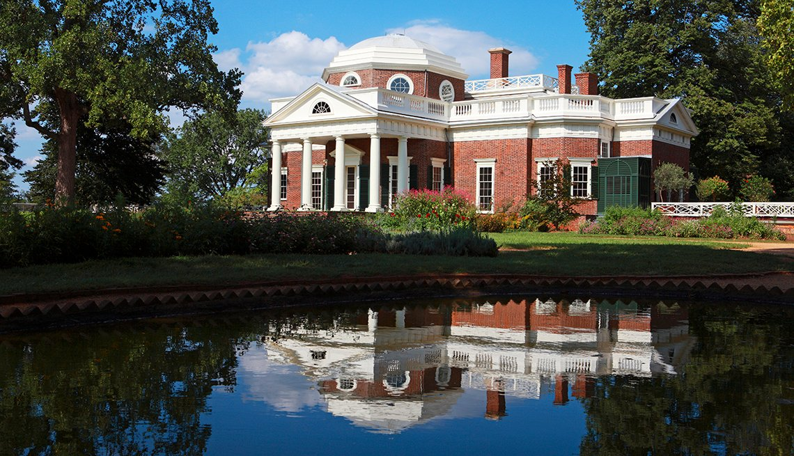 Monticello, Charlottesville, Virginia, Pond Reflection, U.S. Cities for History Buffs