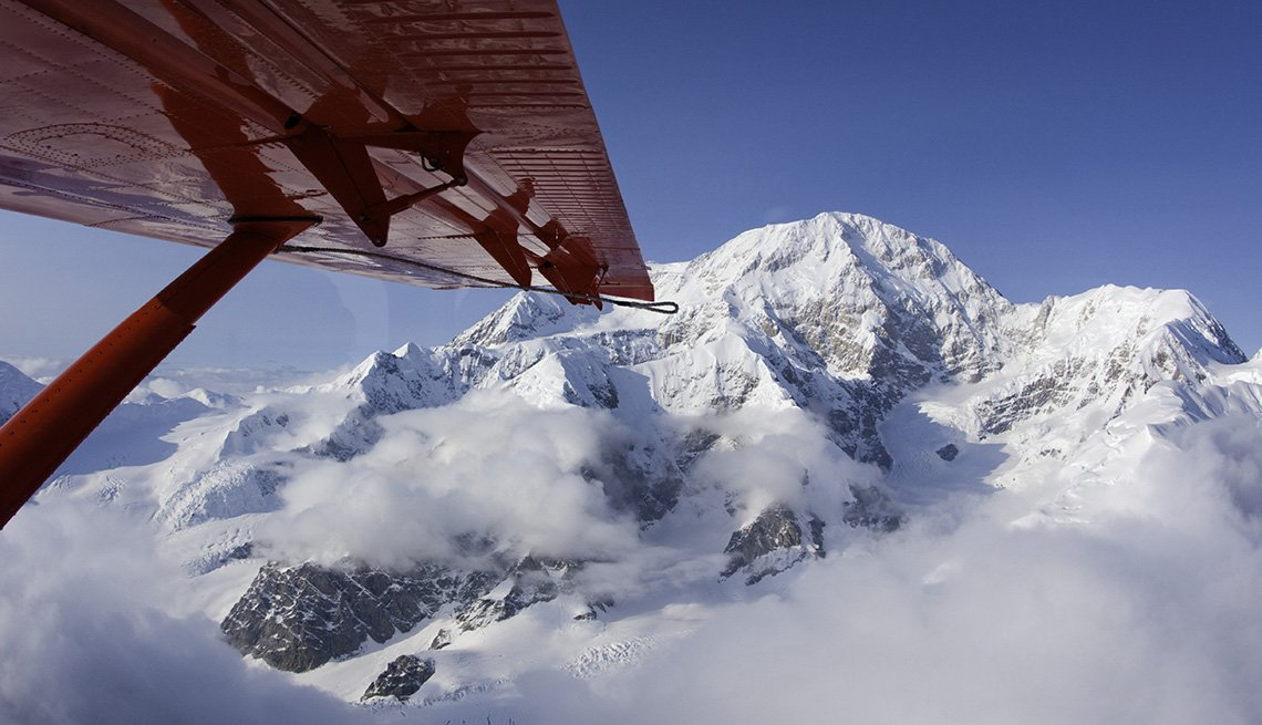 View Of Mount McKinley In Denali National Park In Alaska From A Plane, Beautiful Mountains