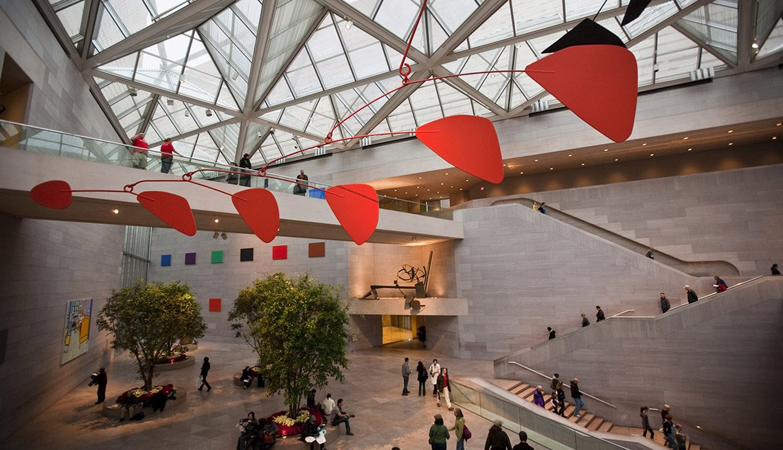 Aerial View Of The Ceiling And Calder Mobile In The East Wing Of National Gallery Of Art In Washington DC, America's Best Low-Cost Cities