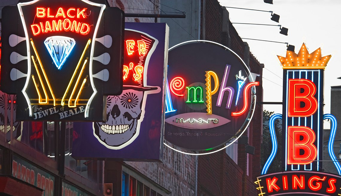 Neon Signs, Beale Street, Memphis, Budget U.S. Trips