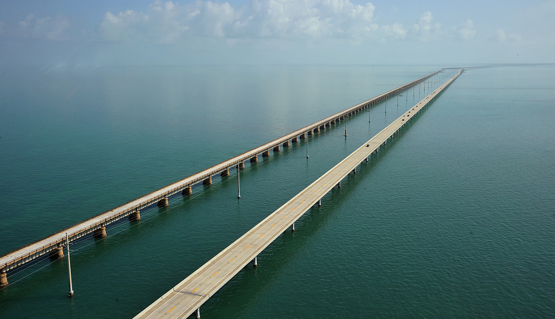 Aerial View Of The Old Seven Mile Bridge In Florida, Must See Bridges
