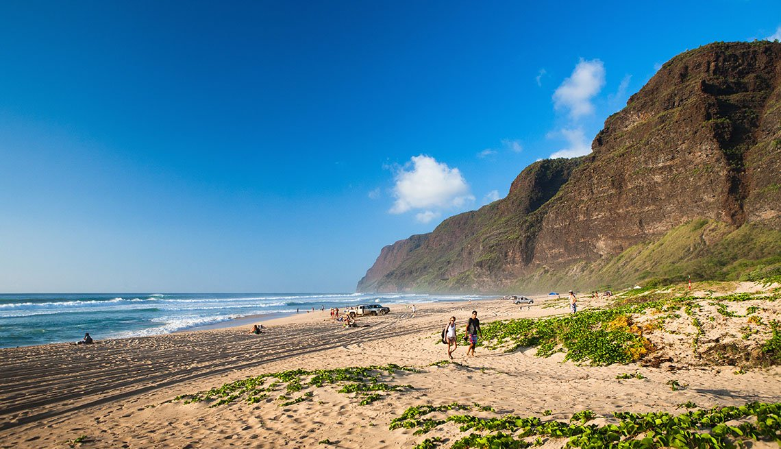 The Cliffs And Beach Of Polihale State Park In Hawaii, Secluded Beaches