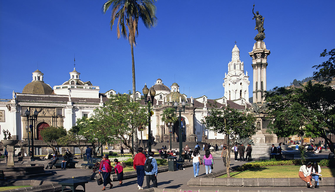 People Visiting Independence Plaza In Quito Ecuador, Sunny Holidays