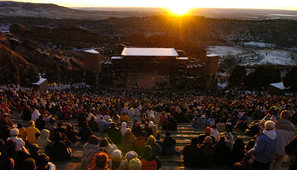 Sunset Over The Red Rocks Amphitheater In Colorado, Outdoor Music Venues