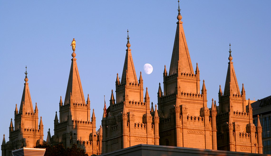 Moon Mormon Temple, Salt Lake City, Utah, U.S. Cities for History Buffs