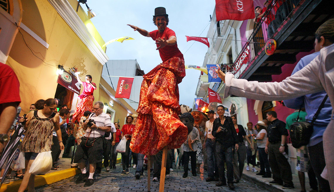 Carnival Performer In The Streets Of San Juan Puerto Rico, Sunny Holidays