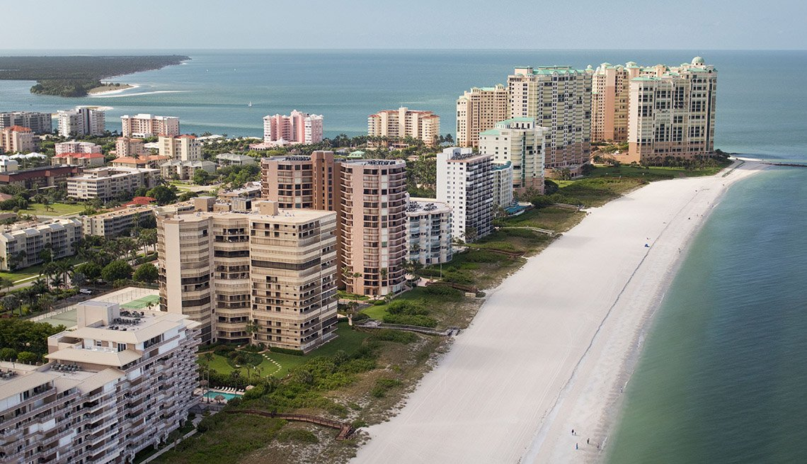 Aerial View Of High Rise Condos And Hotels Along The Beachfront In Marco Island In Florida, Sunny Holidays