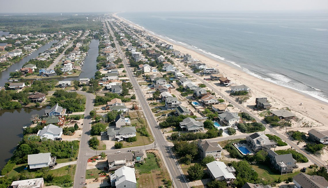 Aerial View Of Sandbridge Beach In Virginia, Secluded Beaches