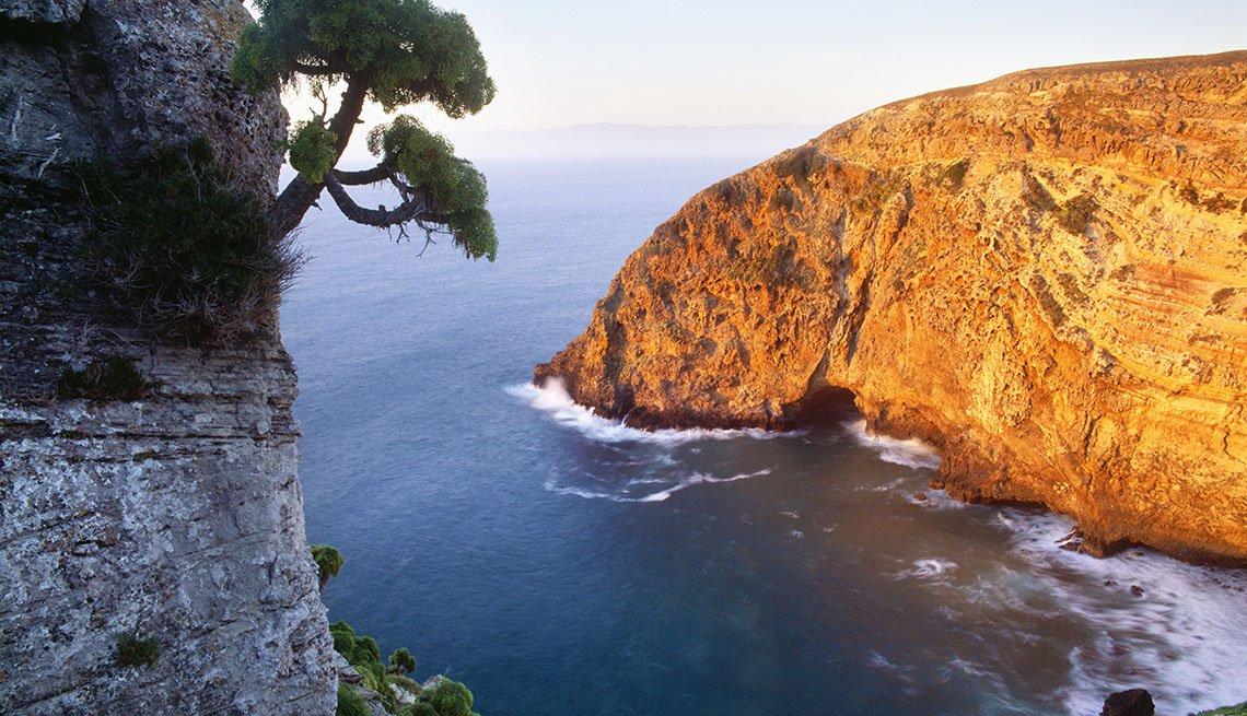 View Of A Cliff On Santa Cruz Island Off The Coast Of California, Island Escapes In USA
