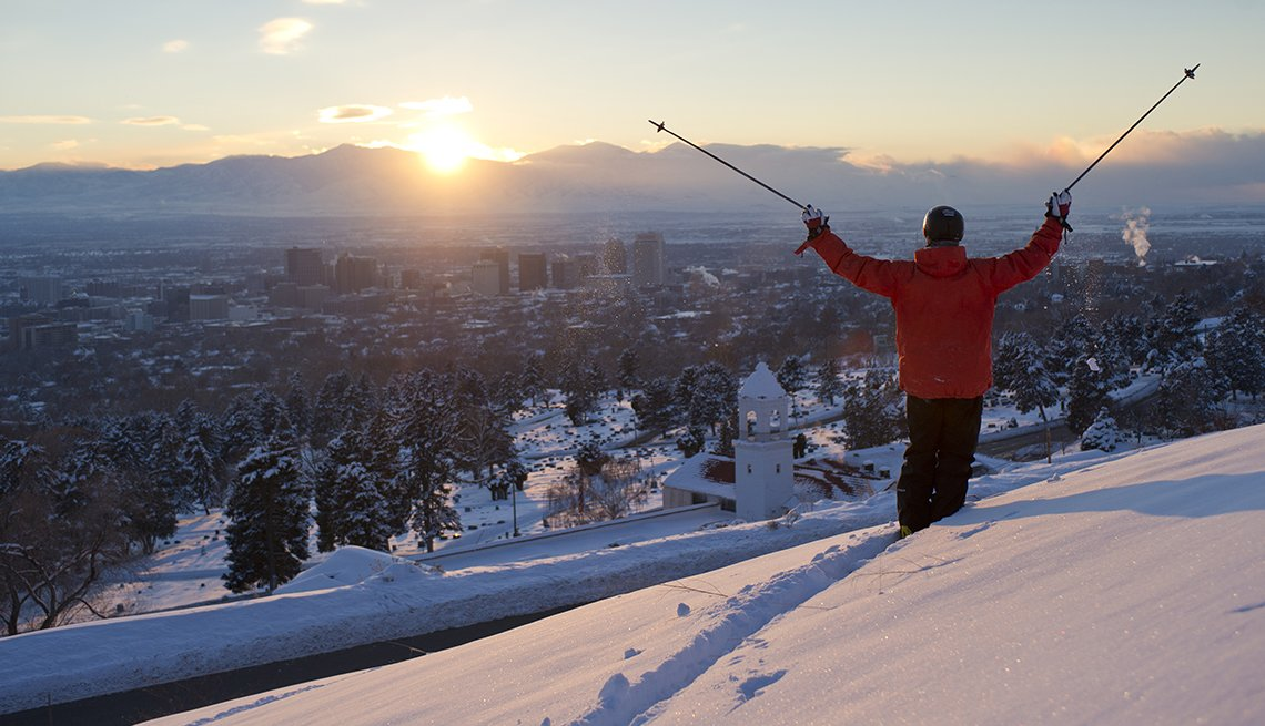 Skiier Poles Raised, Sunset Mountains, Utah, Budget U.S. Trips