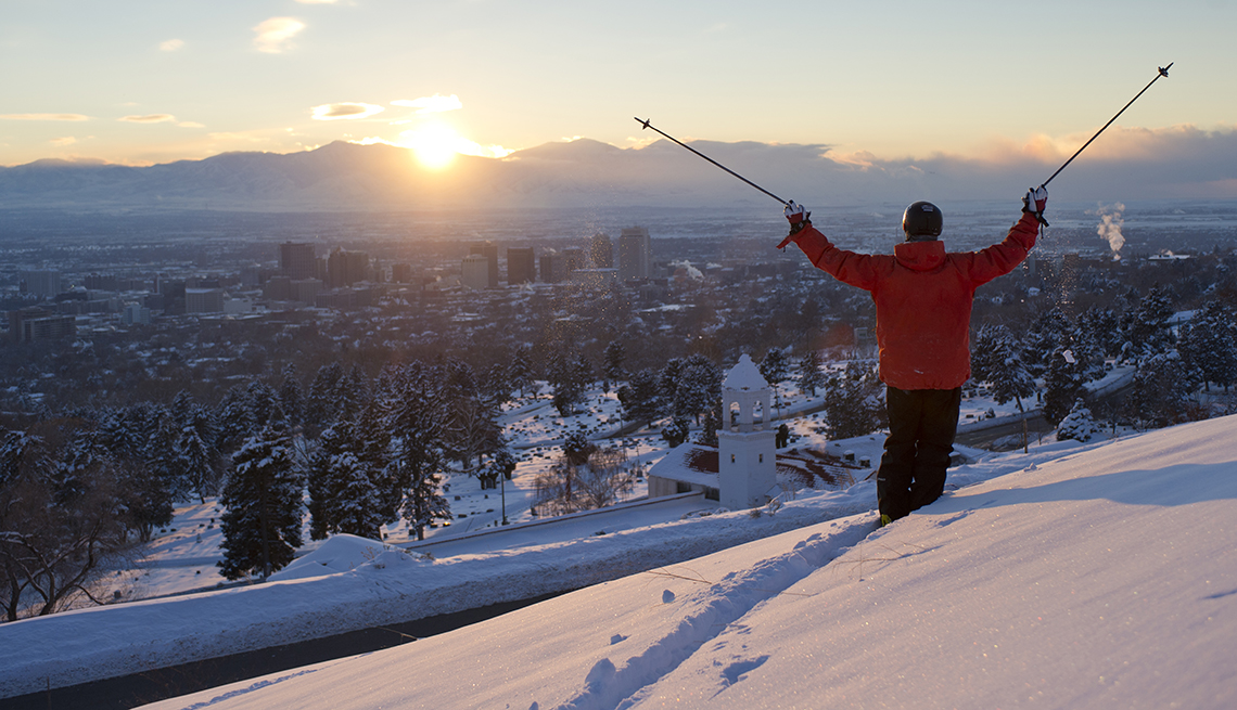 item 7 of Gallery image - Skiier Poles Raised, Sunset Mountains, Utah, Budget U.S. Trips