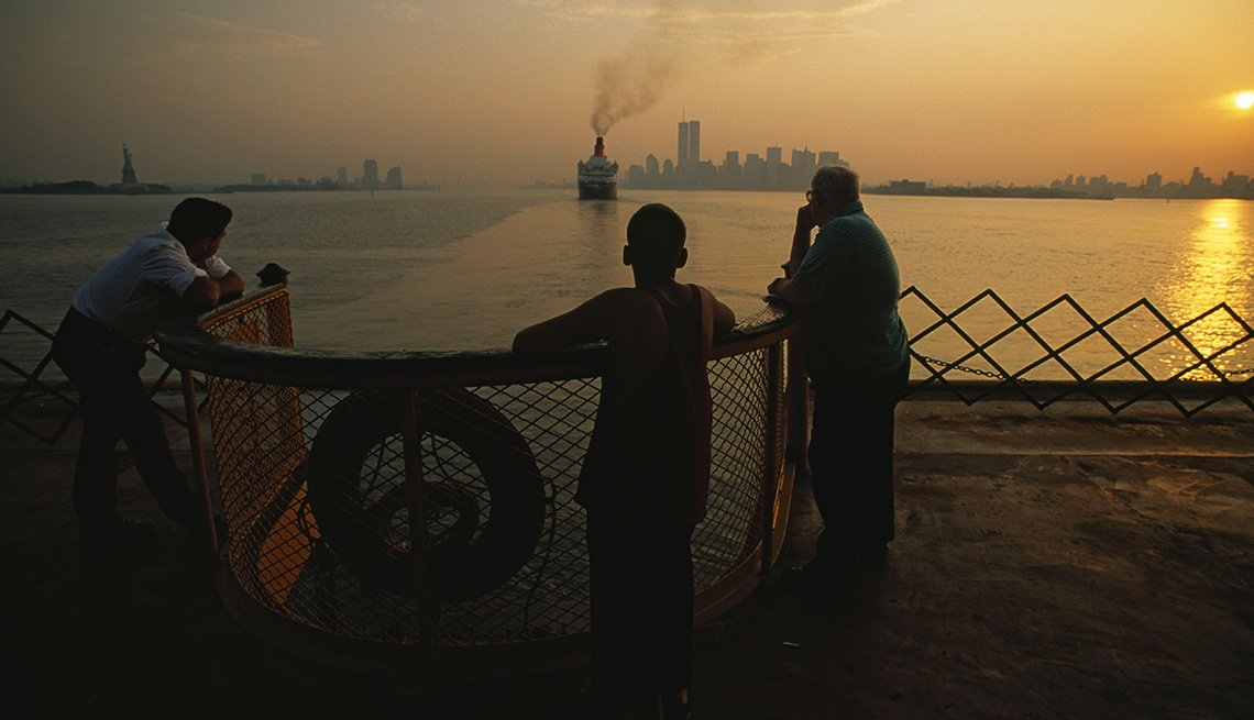 Passengers Aboard The Staten Island Ferry Enjoy The Sunset Over The Hudson River, Fun Ferry Rides