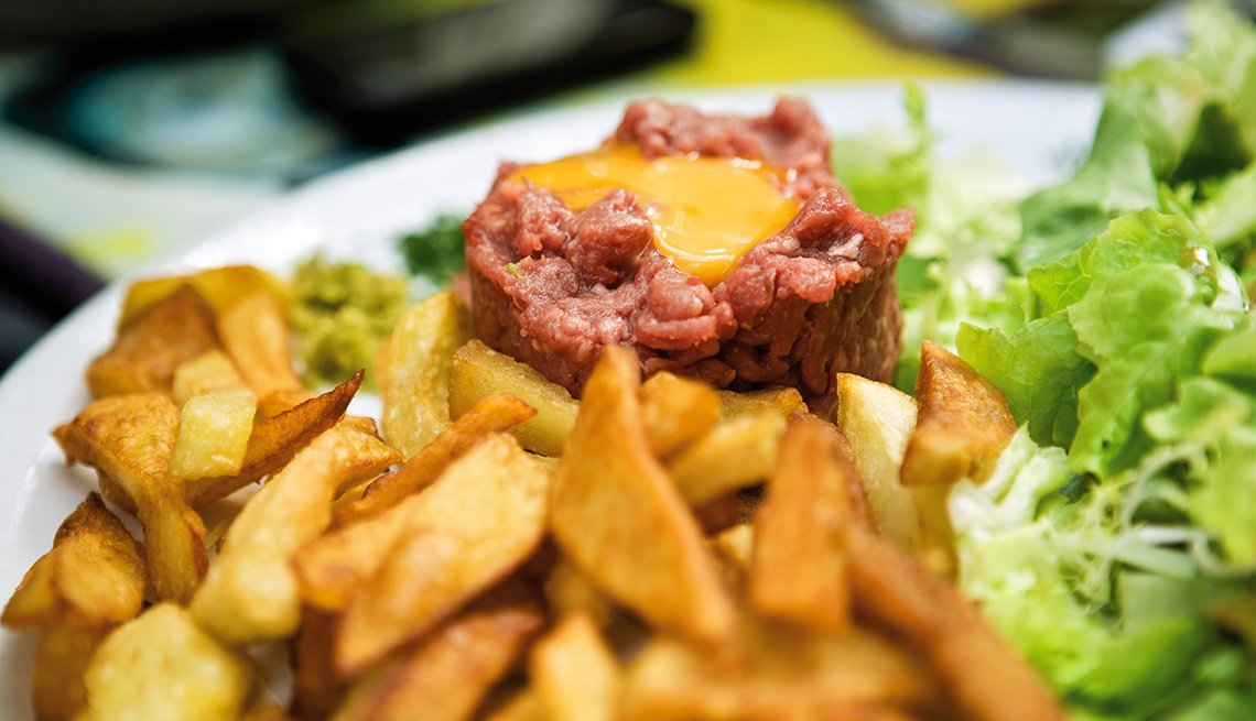 Steak Tartare, French Fries, Lettuce, Top U.S. Cities for Foodies