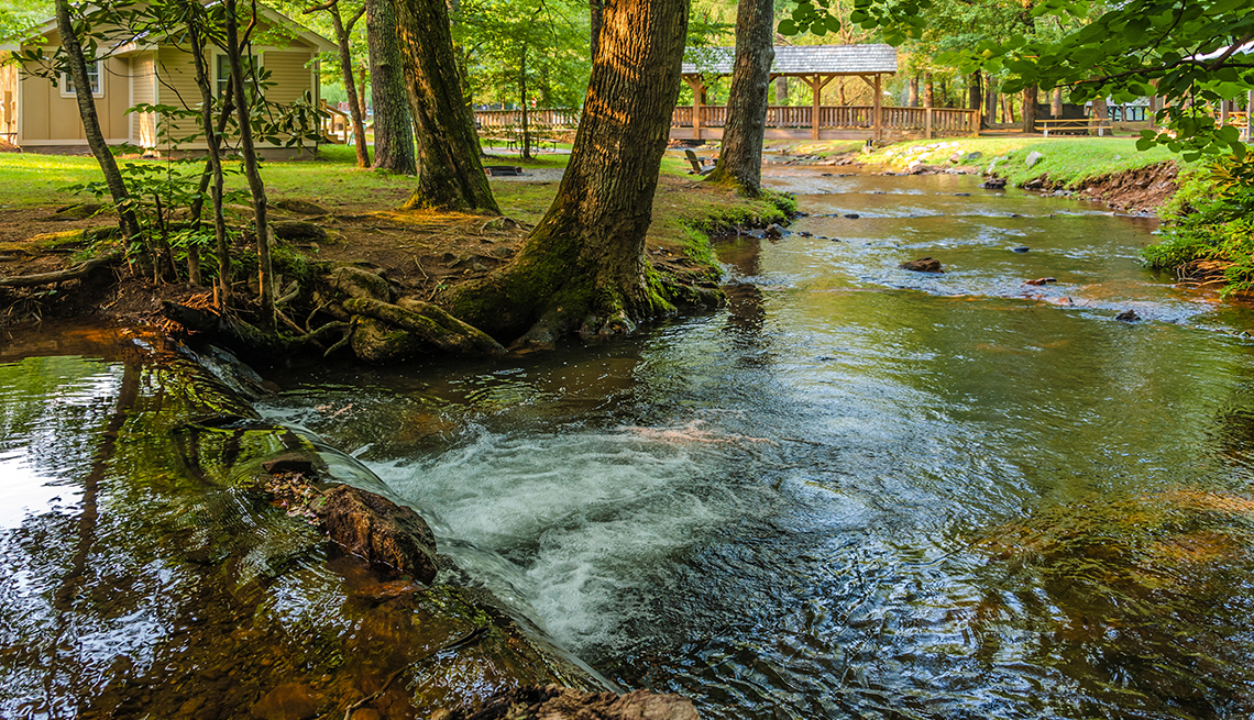 Steam Flows Through Park, Cabins Among Trees, State Parks, Budget-Friendly Travel Ideas