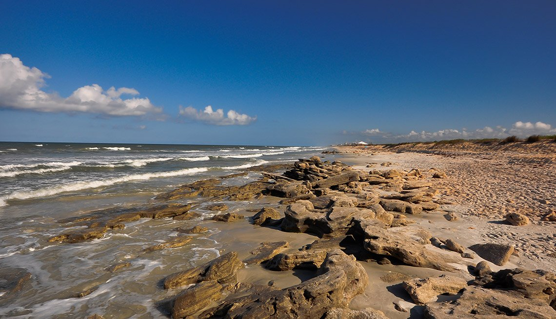 The Rocky Beach Of Coquina Rock Beach In The Washington Oaks State Gardens In Florida, Secluded Beaches