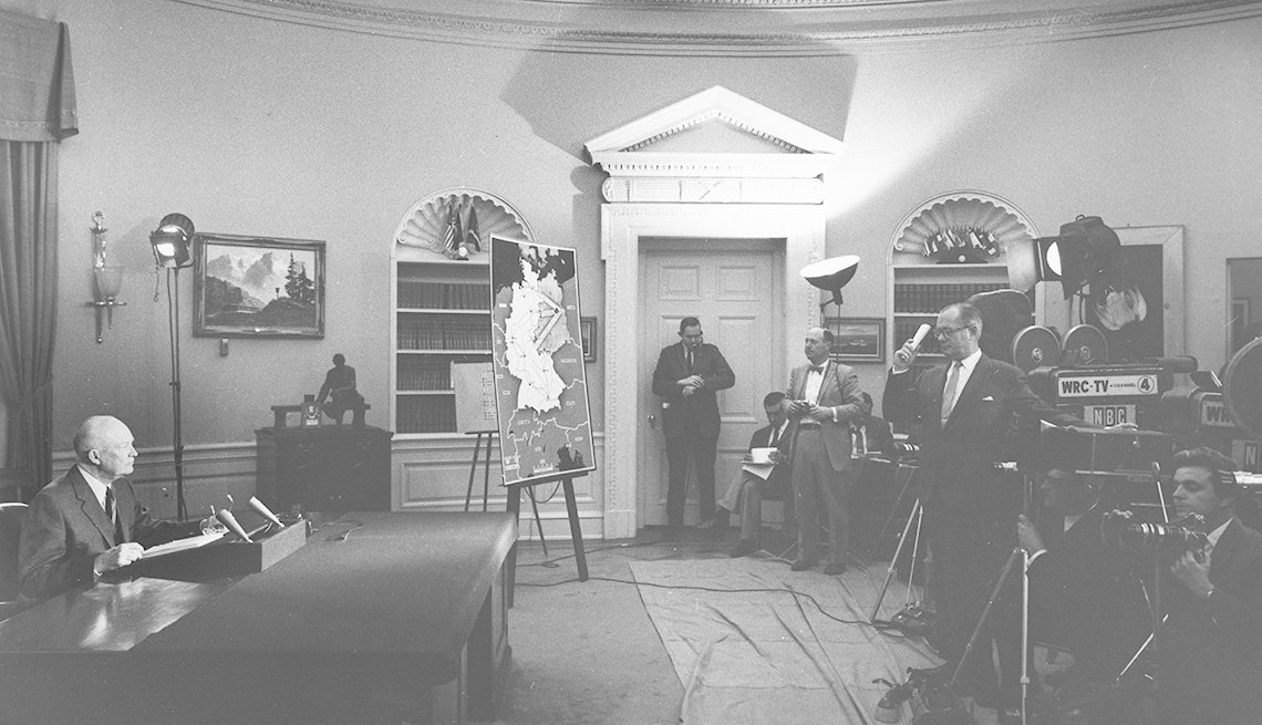 Black And White Photo Of President Dwight D. Eisenhower From The Oval Office, Presidential LIbraries