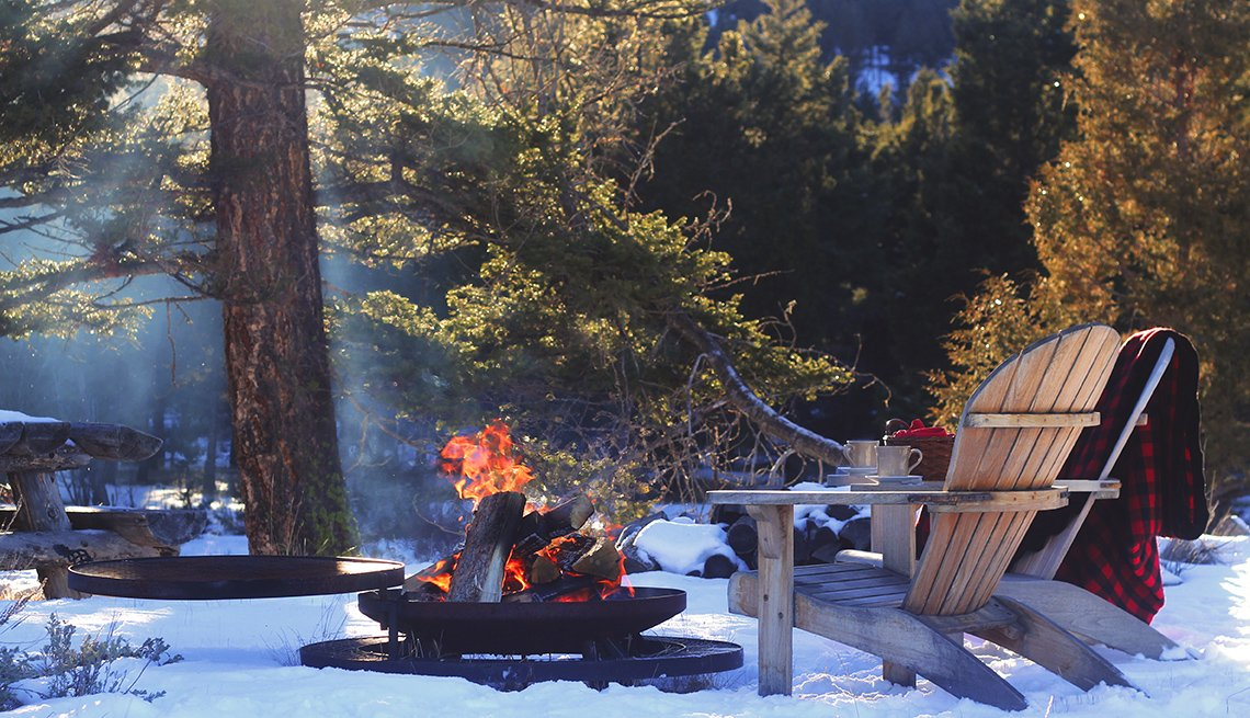 Firepit And Chair In The Snow, Dude Ranch Vacations