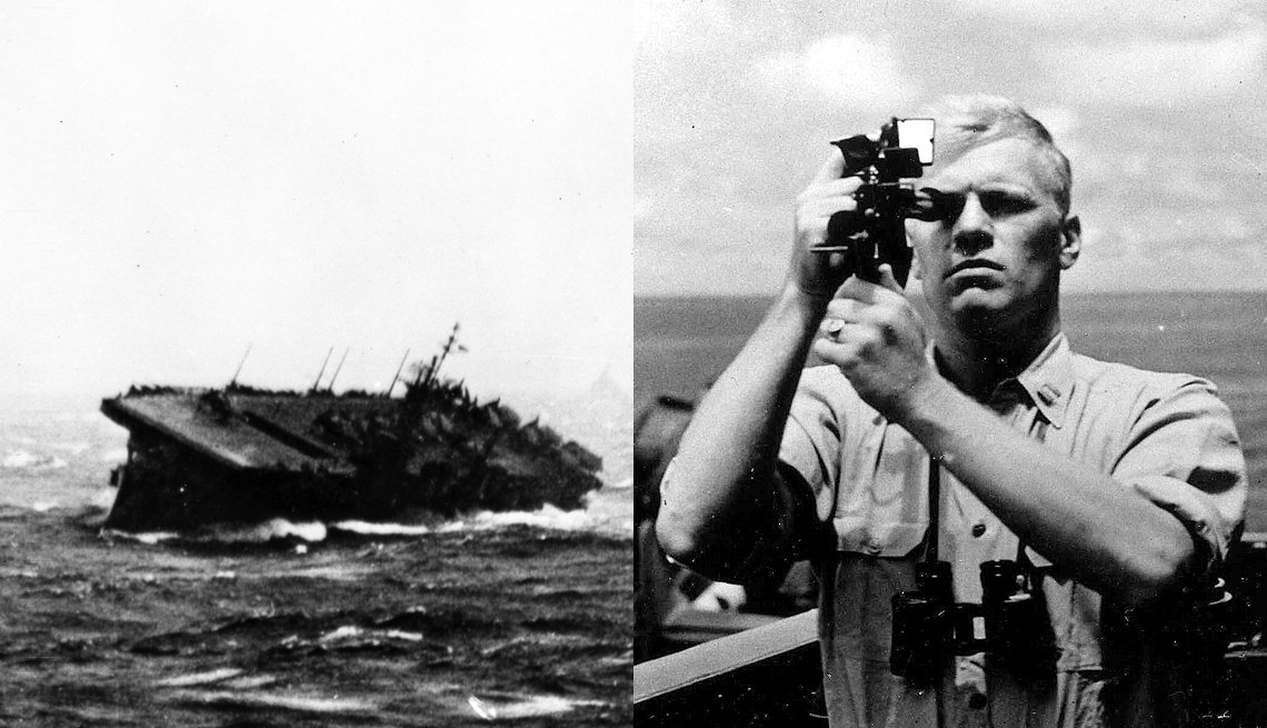 Black And White Photos Side By Side Of Gerald Ford's Ship In World War II And A Portrait Of The Young Naval Officer, Presidential Libraries