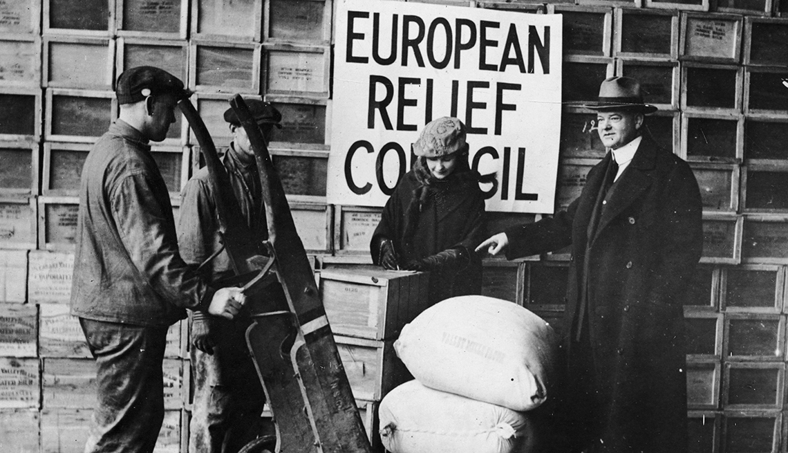 Herbert Hoover Pictured Overseeing Shipping Of Relief Supplies To Europe, Presidential Libraries