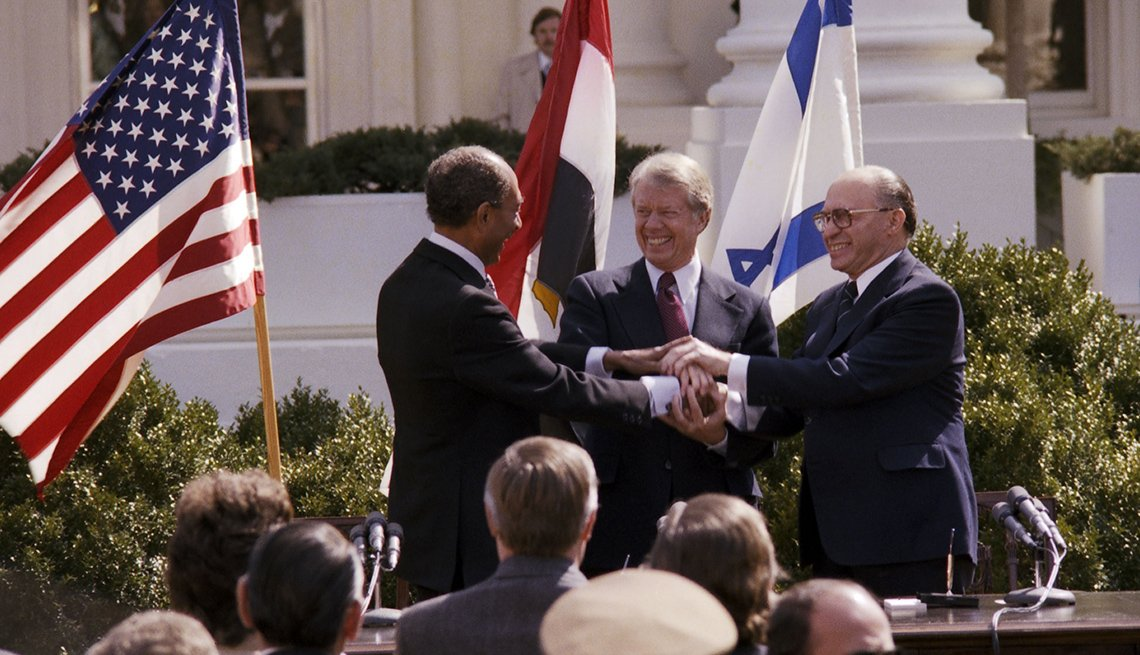 President Jimmy Carter Outside The White House Shakes Hands With Anwar Sadat And  Menahem Begin, Presidential Libraries