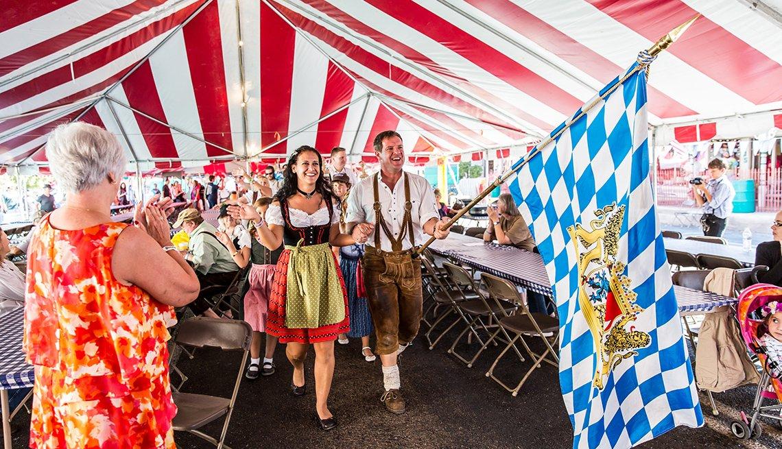 People In Traditional Dress For Oktoberfest, Oktoberfest Destinations USA