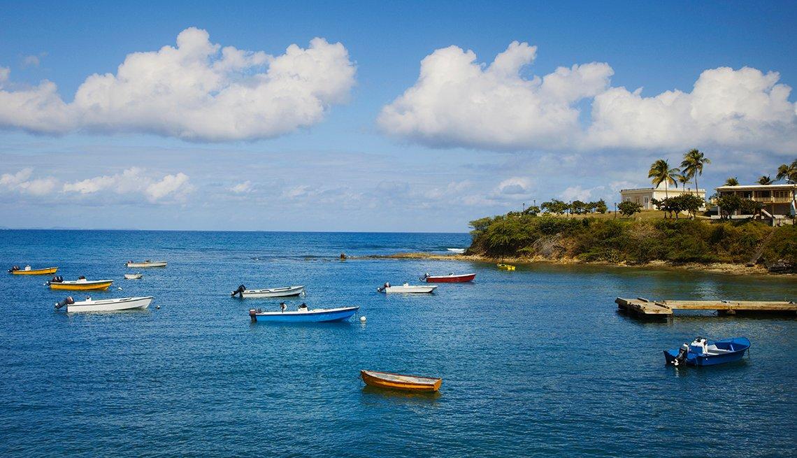 Botes situados en la Isla de Vieques.