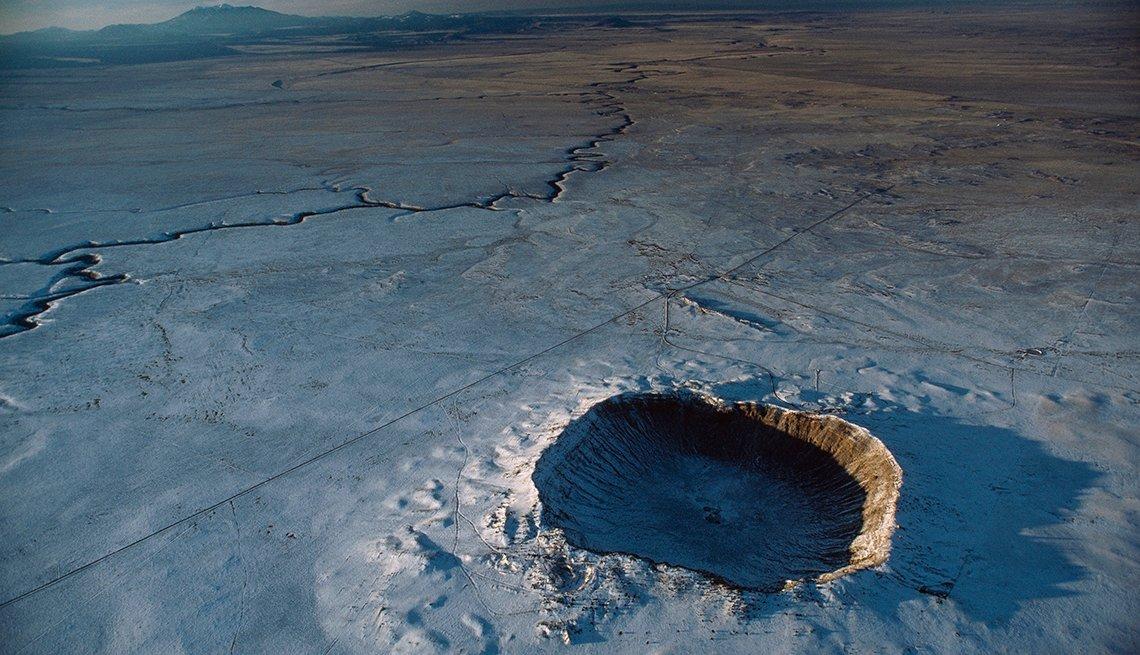 Una vista aérea del Cráter del Meteorito cerca de Winslow, Arizona.