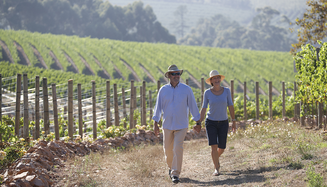 Couple walking together on an organic wine farm