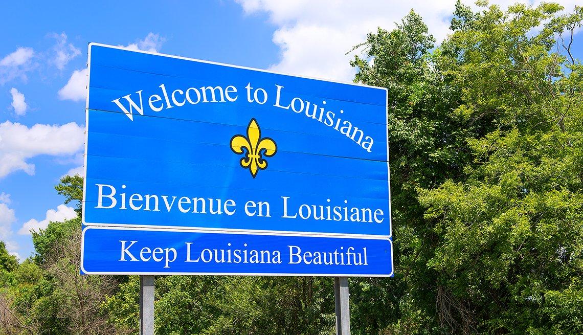 Señal que advierte la llegada a Luisiana.