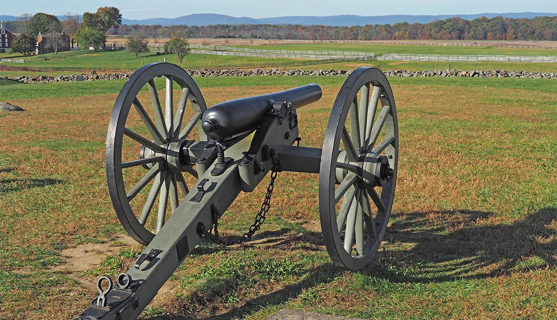 Cañón militar en el Parque Militar Nacional de Gettysburg