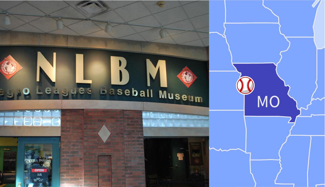 Una foto del letrero del negro leagues baseball museum