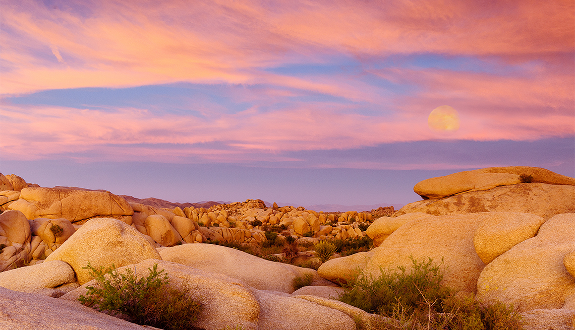 item 2 of Gallery image - Moon rising over Joshua Tree National Park