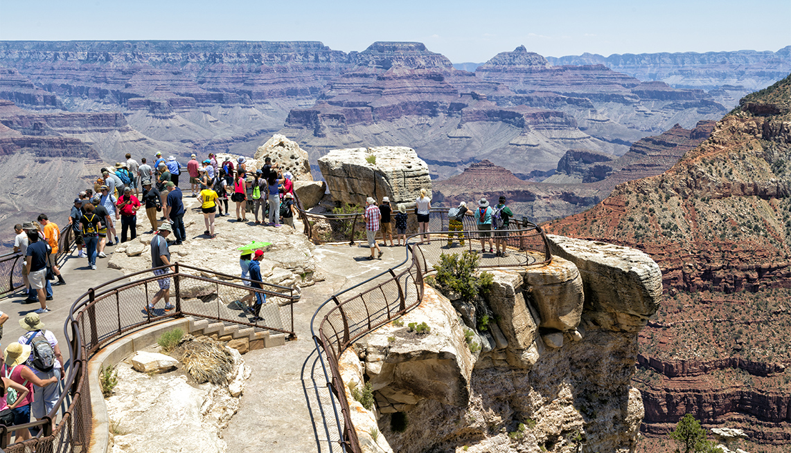 Tourists at viewpoint, South Rim, Grand Canyon National Park